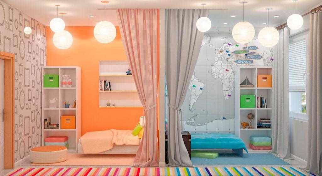 Дизайн детской комнаты для двух разнополых детей 11 квм с