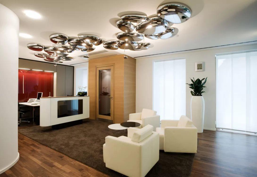 Потолочные светильники в интерьере гостиной фото
