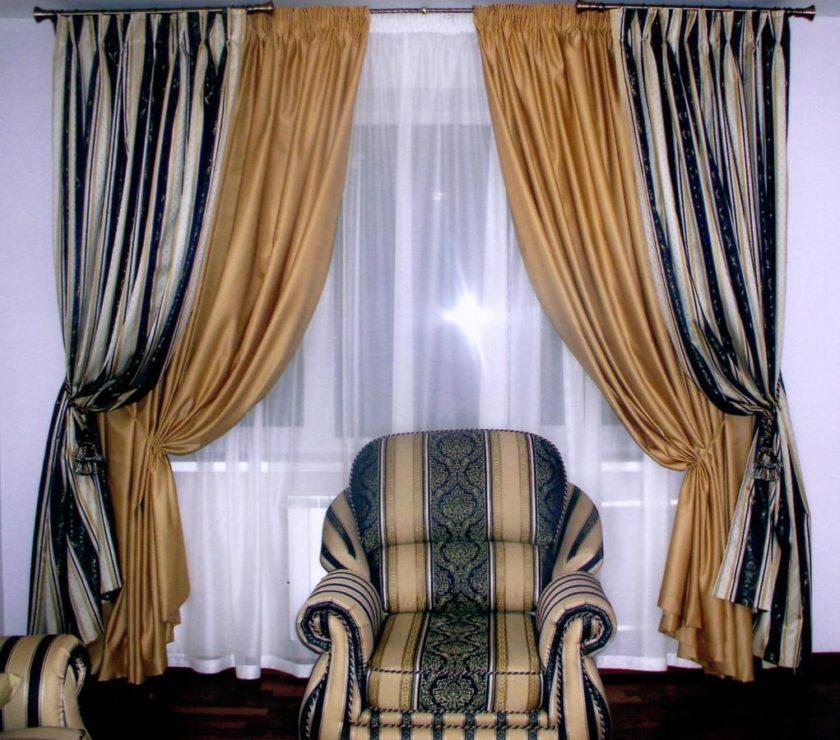 Как сшить комбинированные шторы в гостиную 96