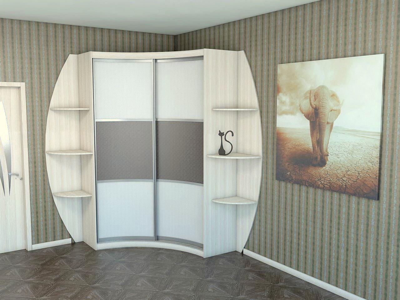 Радиусные угловые шкафы (38 фото): распашные модели с полукр.
