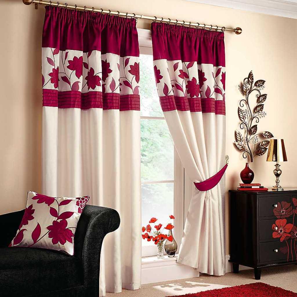 Как сшить комбинированные шторы в гостиную 11