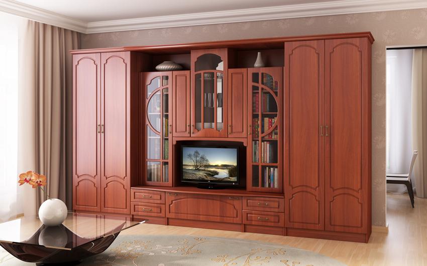 """Стенки в гостиную в стиле """"классика"""" (43 фото): мебельные кл."""
