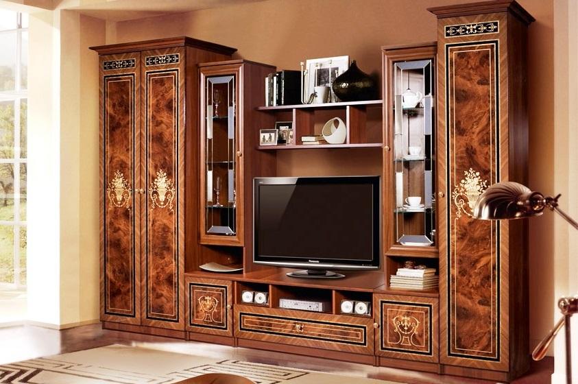 стенки в гостиную в стиле классика 43 фото мебельные