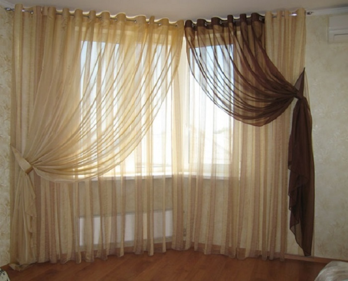 шторы с тюлем на люверсах