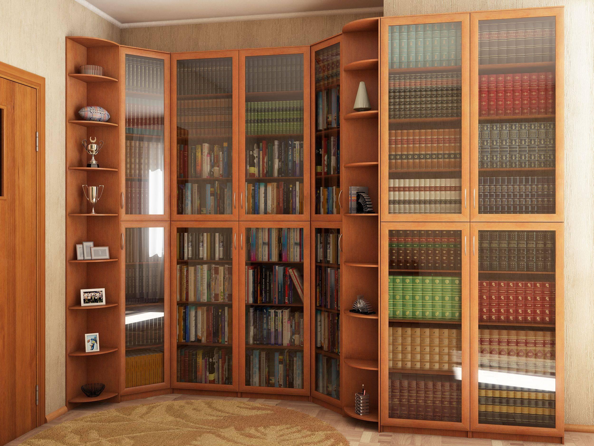 Угловые книжные шкафы (33 фото): шкаф для книг со стеклом, м.