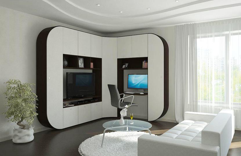 Радиусные шкафы в гостиную.