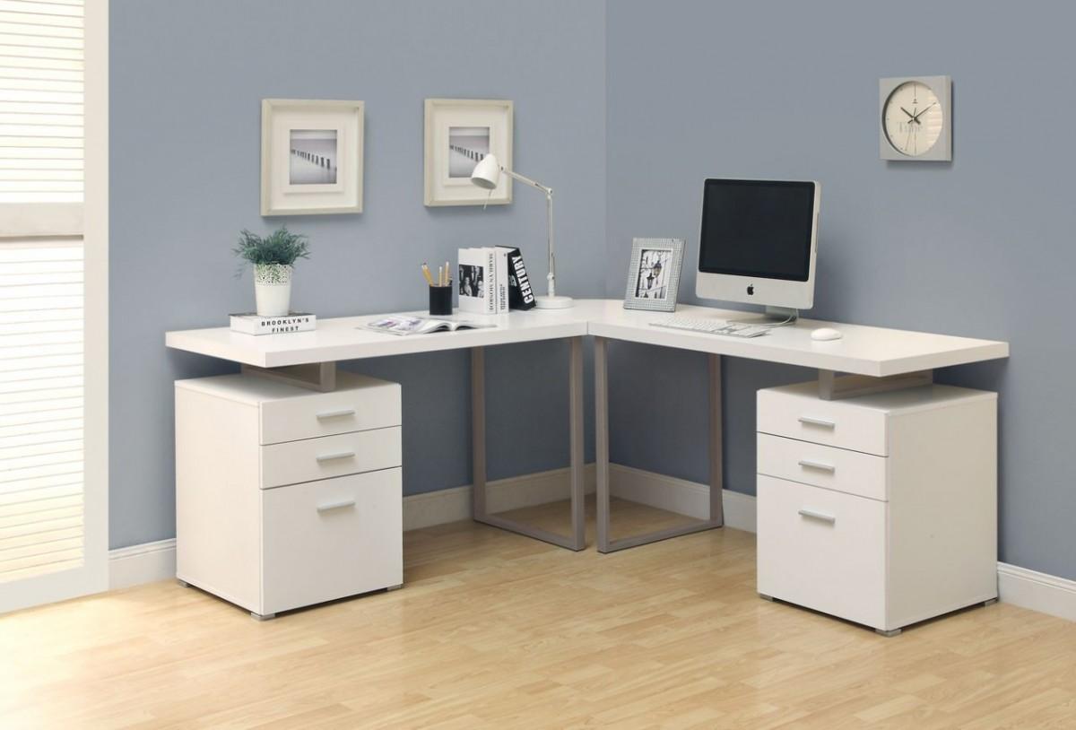 белый угловой компьютерный стол мебель с глянцем для компьютера