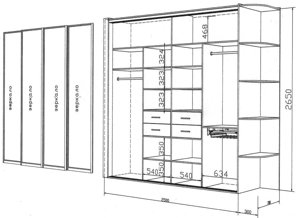 Изготовление шкафа-купе чертежи