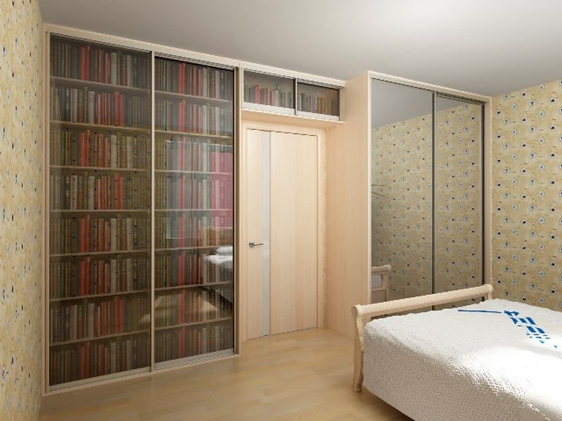 Шкаф-купе книжный милано 3 для библиотеки.