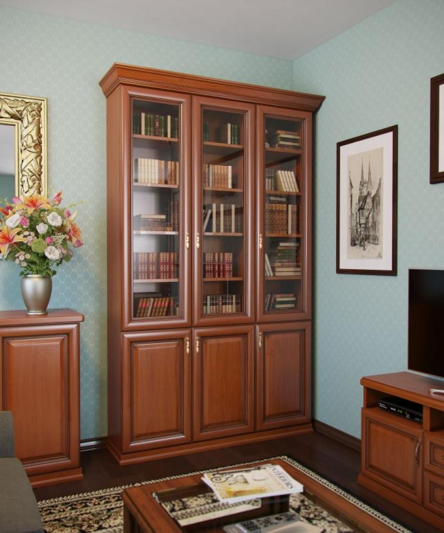 Книжный шкаф со стеклянными дверцами (57 фото): узкий шкаф д.