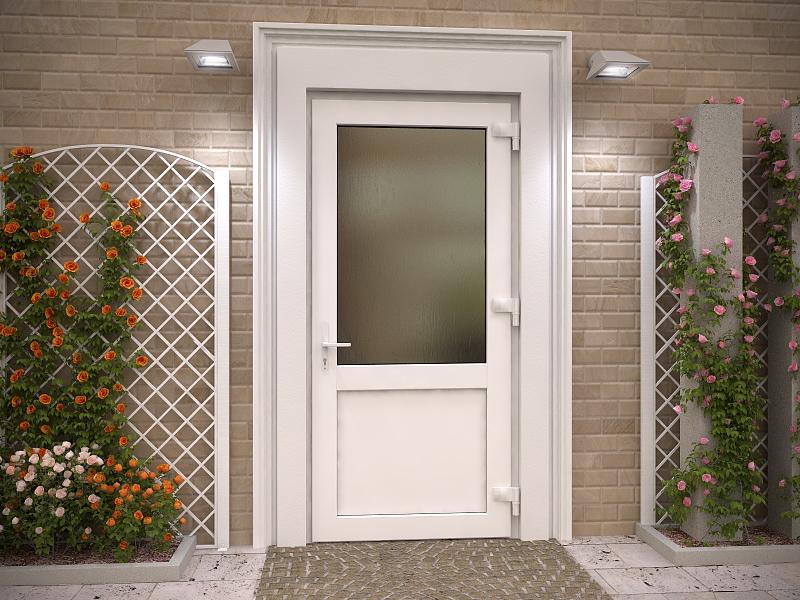 Пластиковая дверь без стеклянных вставок.
