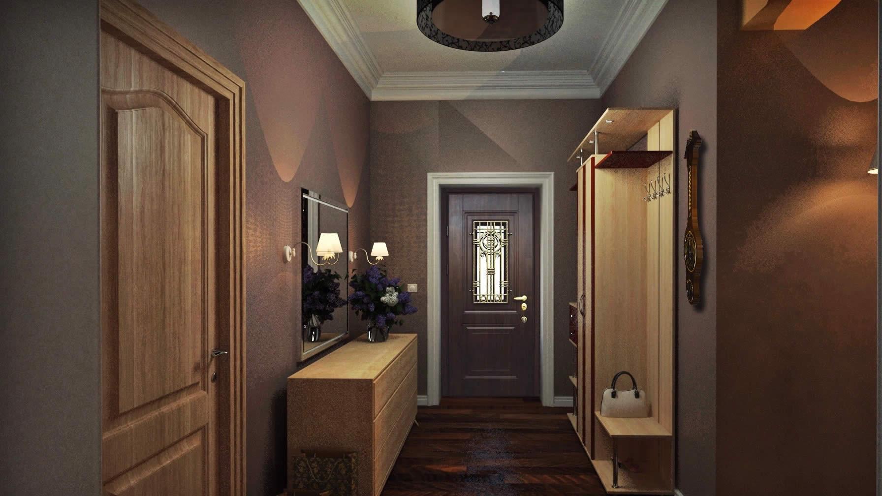 Дизайн широкой прихожей и коридора