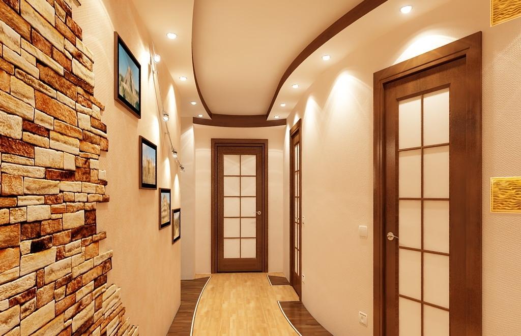 фото длинного коридора отделанного кирпичиками ебут все