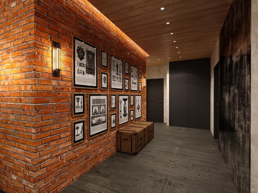 Отделка стен декоративным камнем и обоями в зале 7