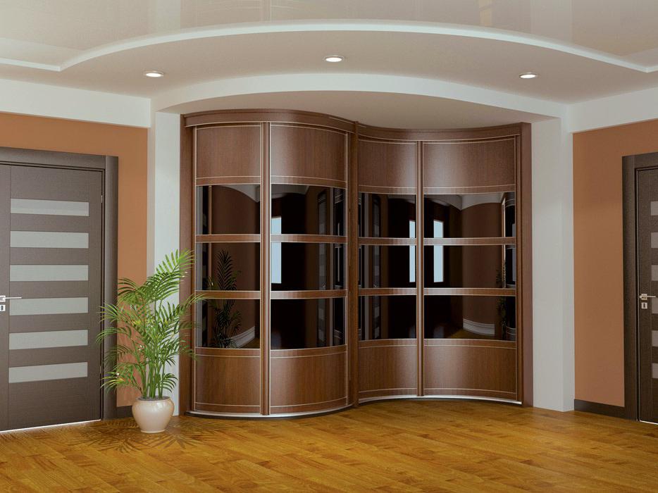 Радиусные шкафы (49 фото): модели в спальню и в гостиную с полукруглыми дверями, радиальный шкаф с распашными створками, круглые модели для прихожей