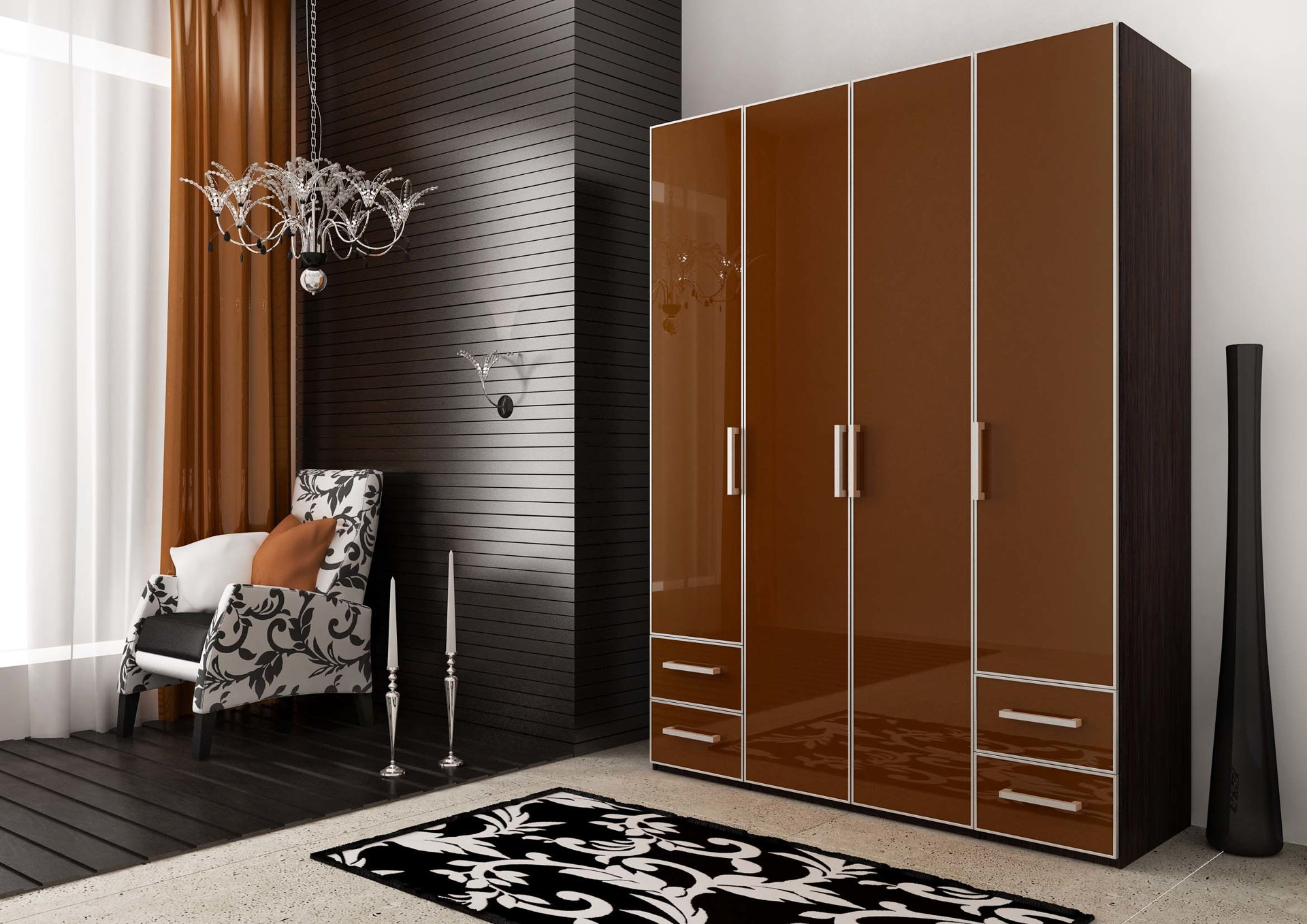 Популярные модели распашных шкафов, варианты внутреннего наполнения