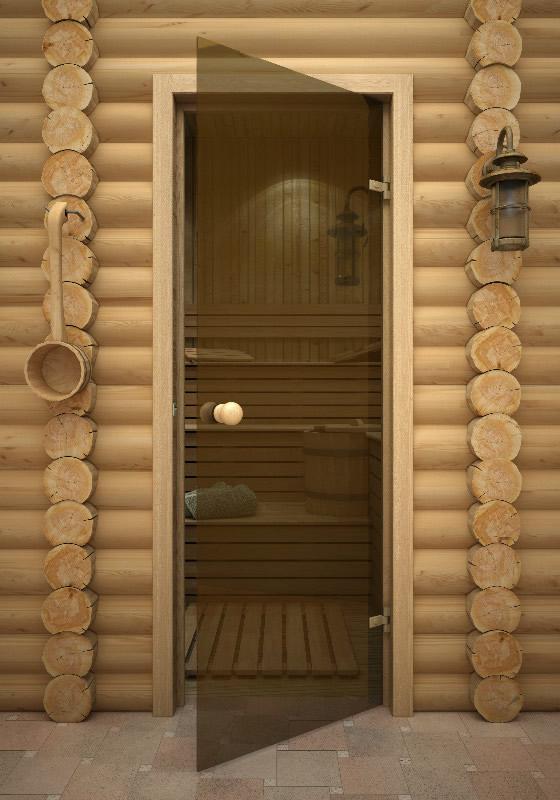 Размер стеклянной двери в баню с коробкой