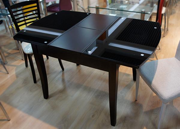 Стол стеклянный кухонный раздвижной черный