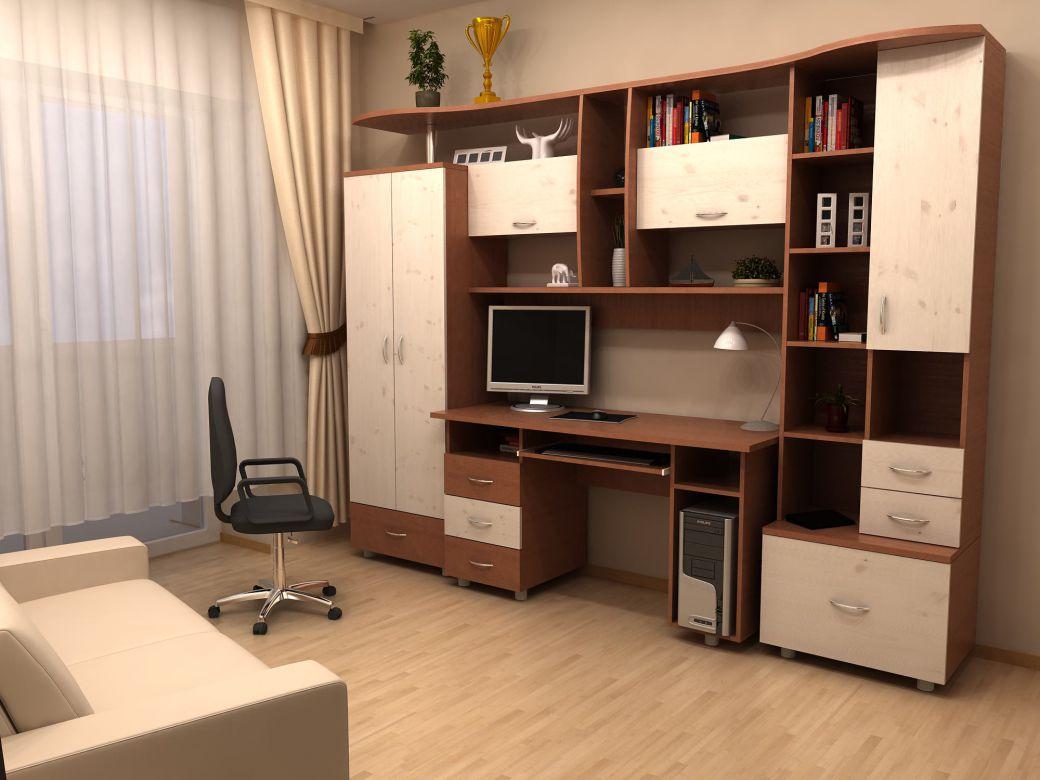 Стенки с компьютерным столом: угловая модель со шкафом и вст.