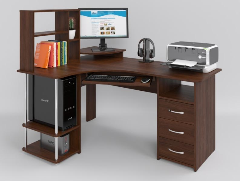 Угловые компьютерные столы с надстройкой (23 фото): полуугло.