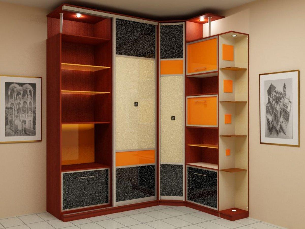Угловые шкафы (80 фото): узкие платяные варианты с полками д.
