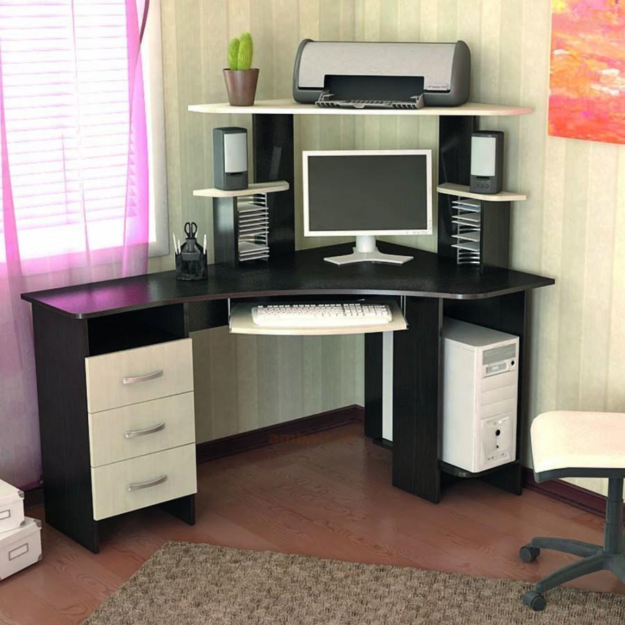 Компьютерные столы с полками (28 фото): высокий рабочий стол.