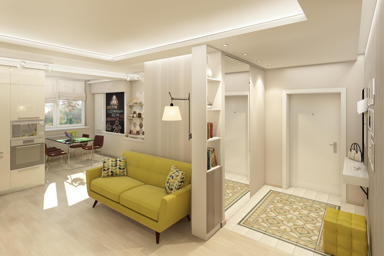 Дизайн прихожей совмещенной с комнатой