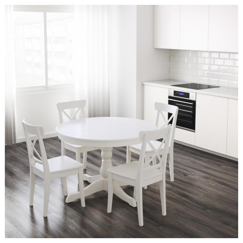 Круглые столы Ikea белый раздвижной столик в интерьере
