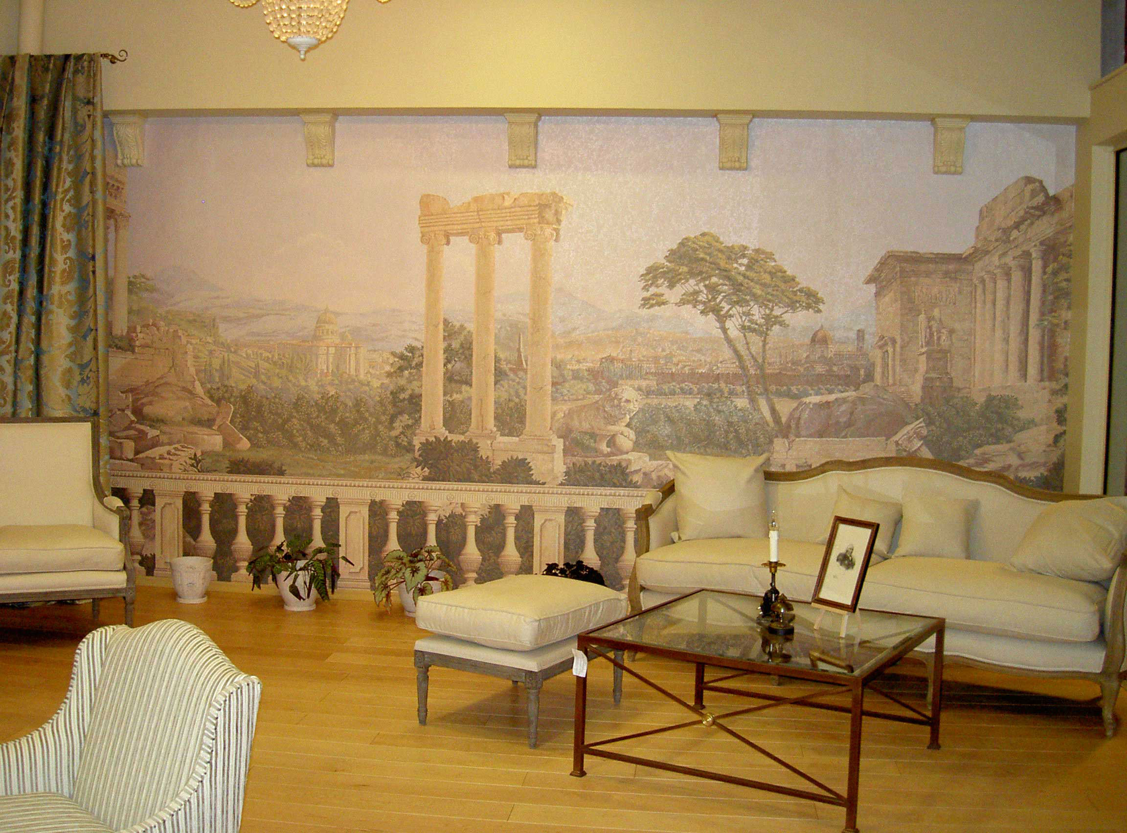 Дизайн интерьера с фреской картиной
