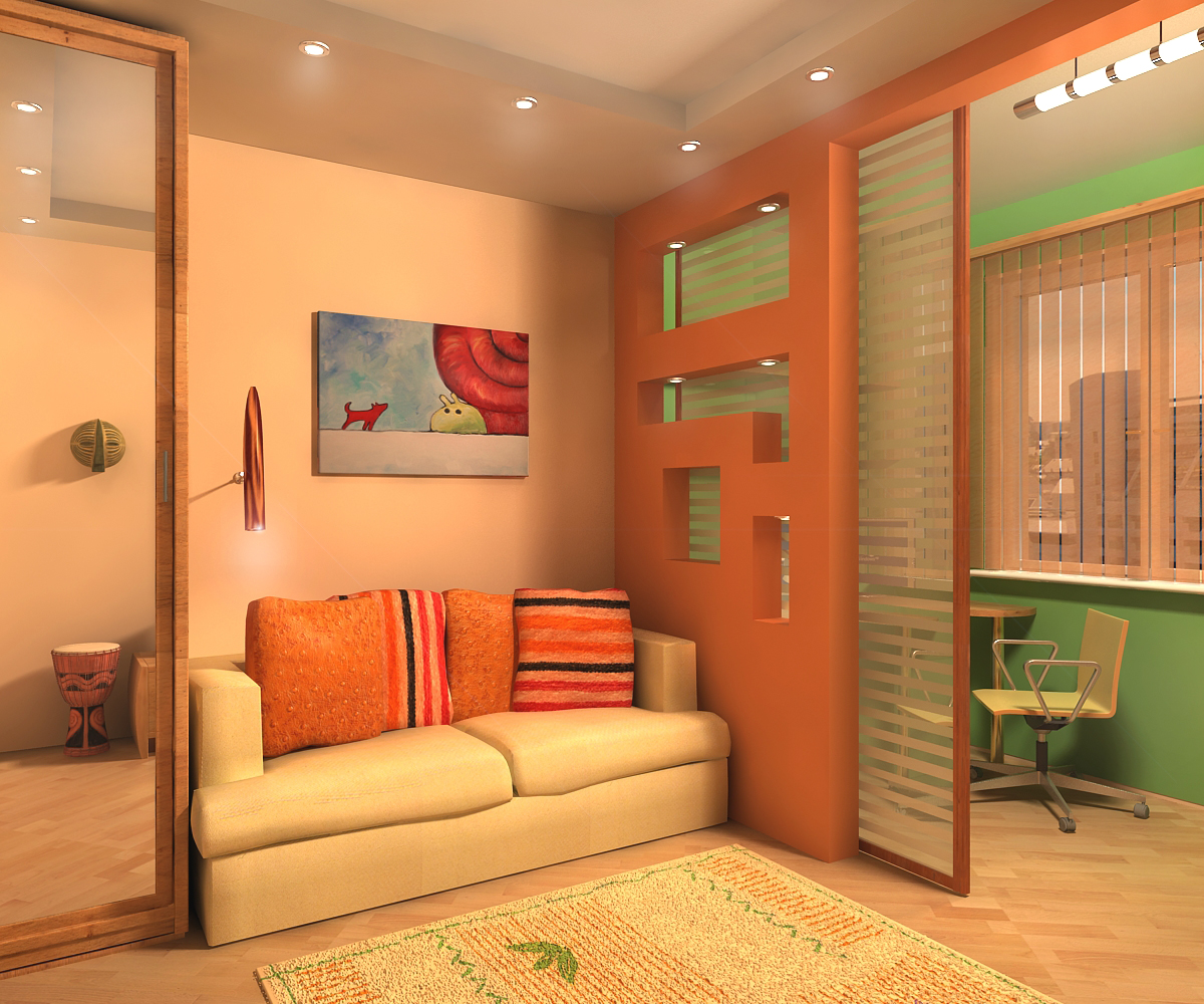 Как в одной комнате сделать две зоны: спальню 23