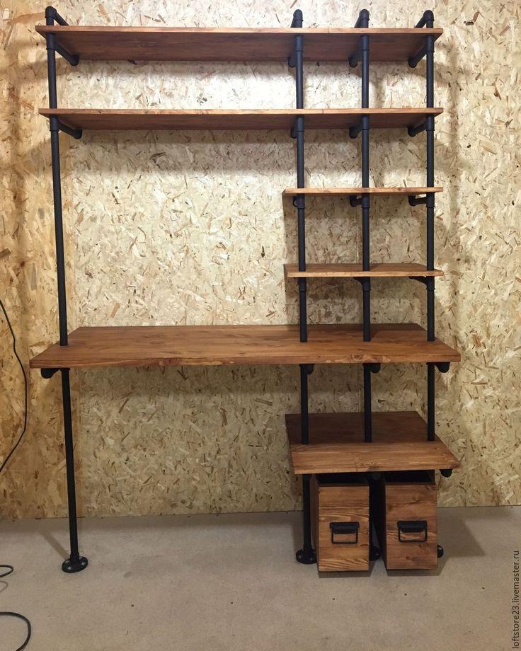 Стол со стеллажом: угловые модели с откидным и выдвижным вст.
