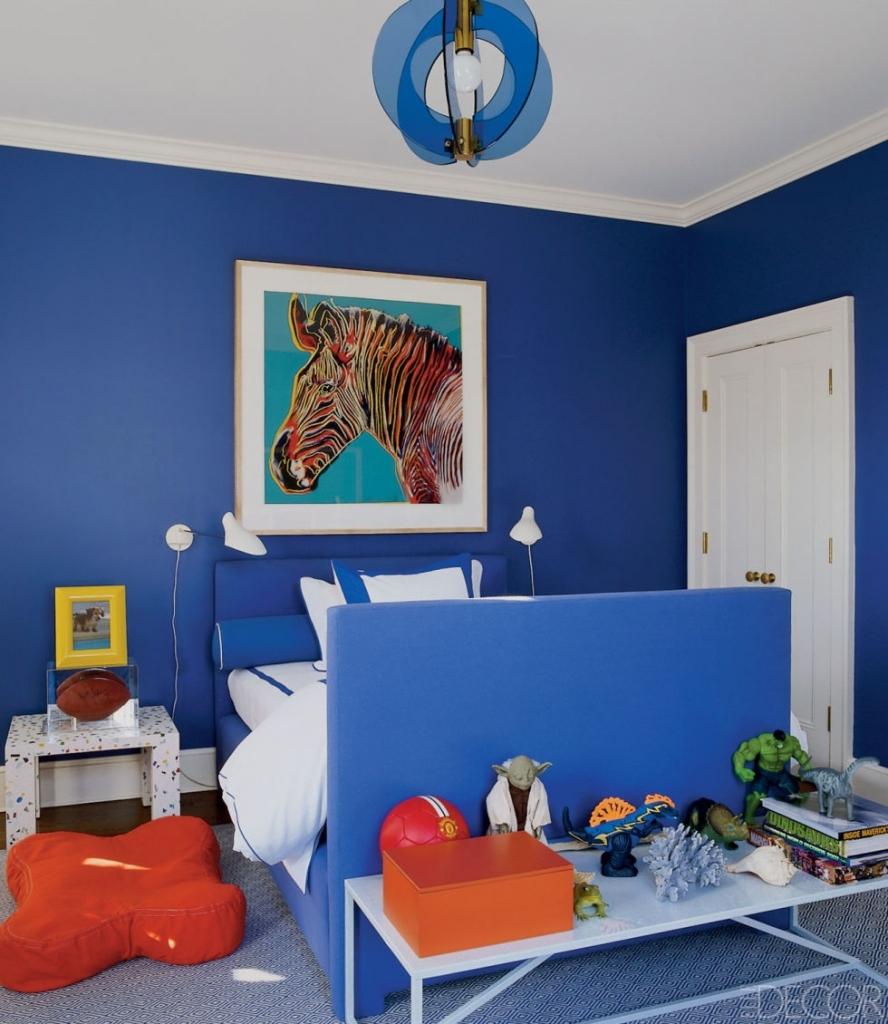 Дизайн детской комнаты в синем цвете