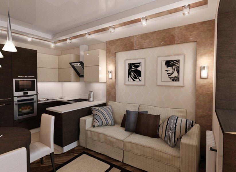 дизайн кухни гостиной 20 кв м реальные фото 3