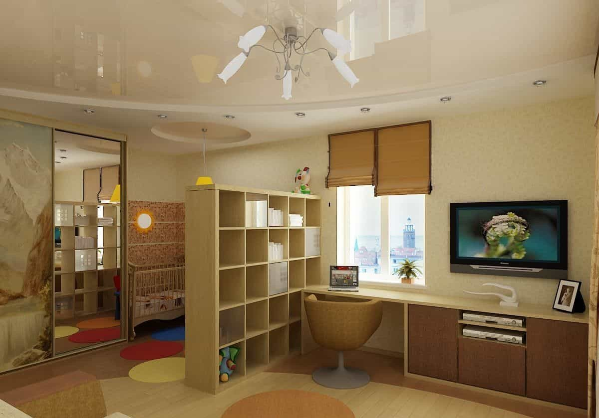 мебелью ребенка фото родителей комнаты зонирование и для