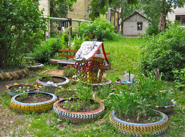 Ландшафтный дизайн возле дома фото своими руками из подручных материалов