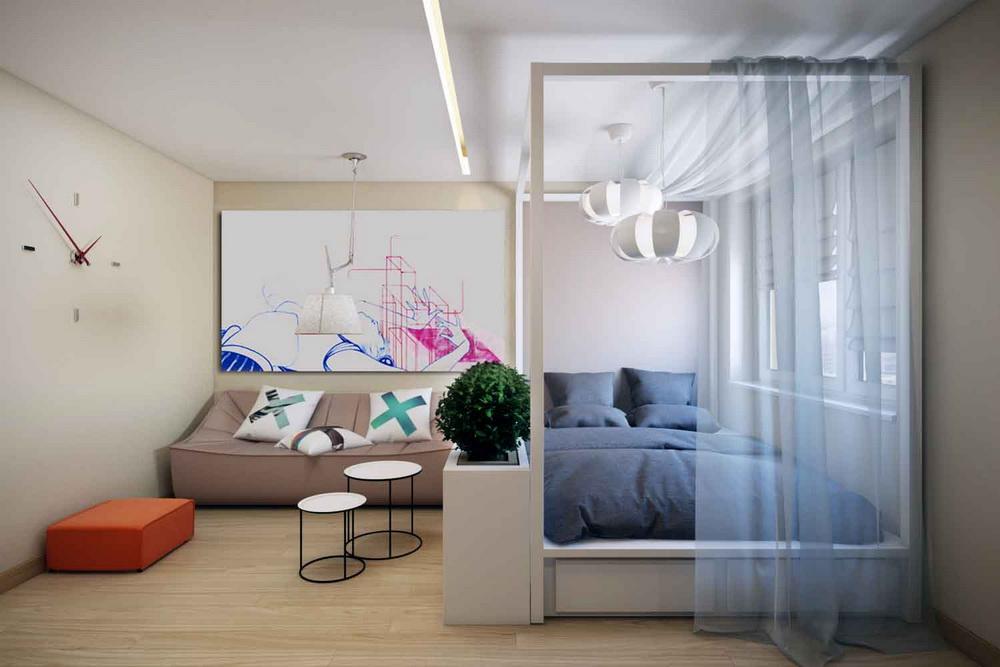 Кровать в гостиной идеи фото
