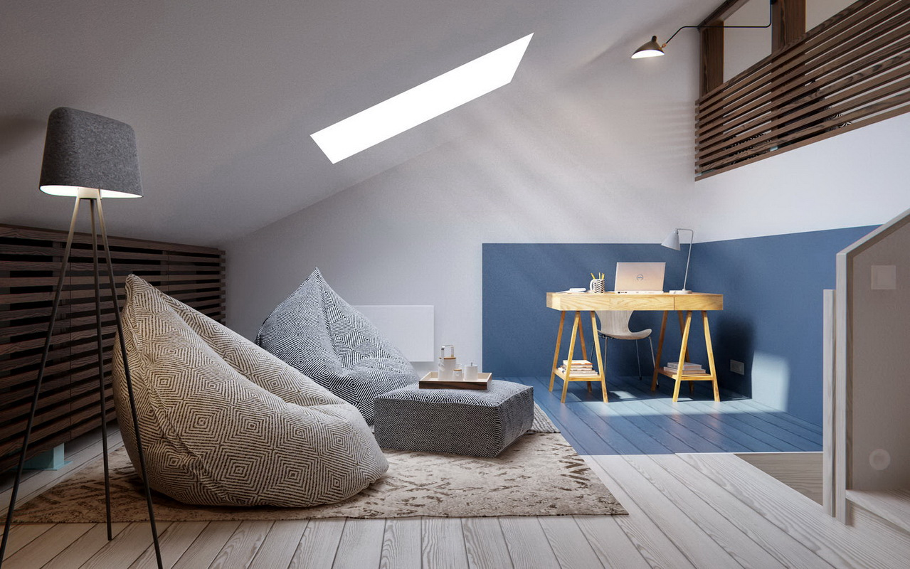 Лаконичный интерьер квартиры с мансардой