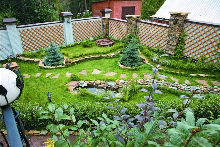 дизайн огорода с грядками частного дома фото