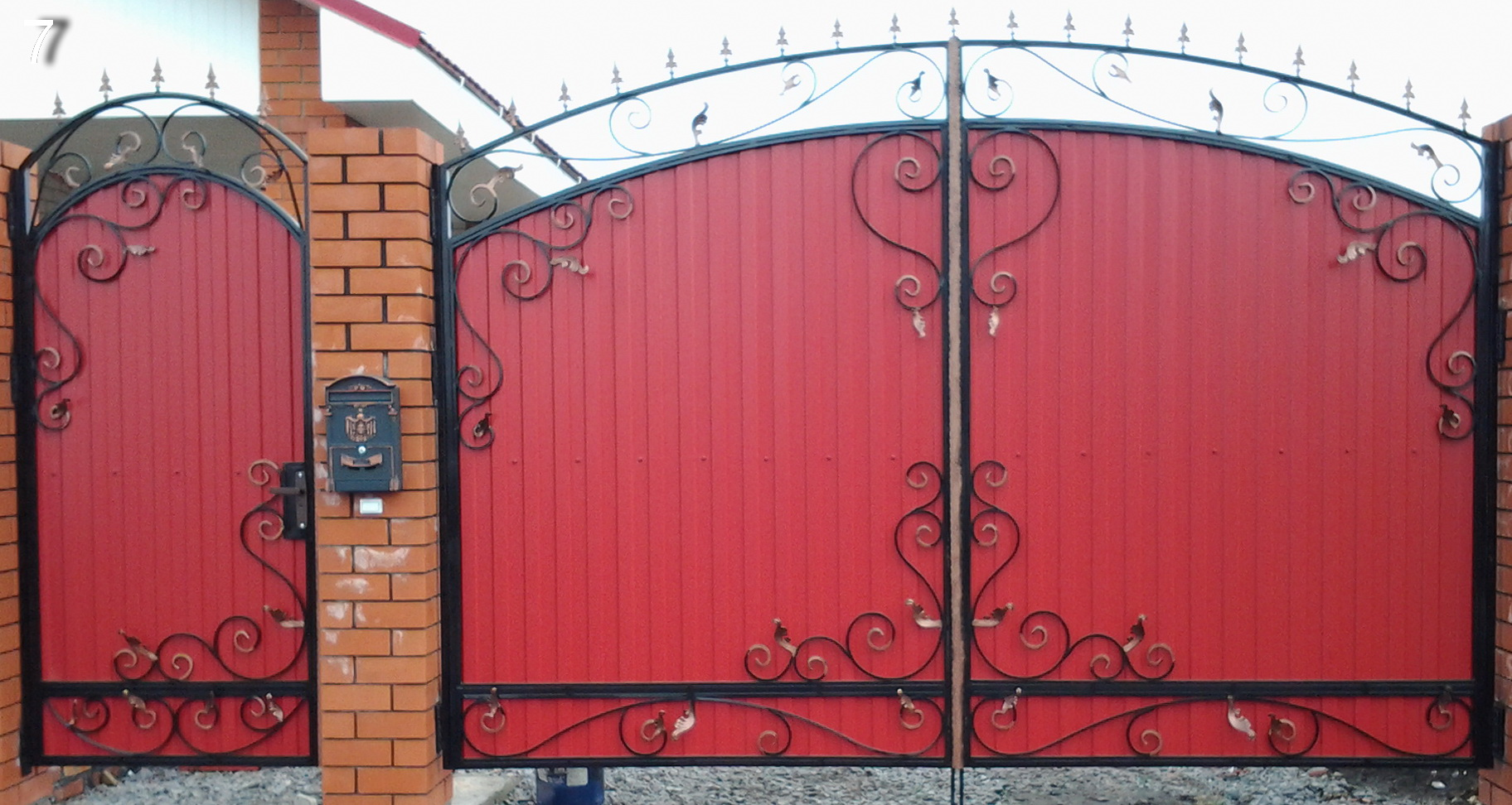 Ворота из профнастила с элементами ковки своими руками фото 173