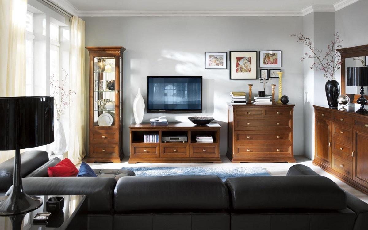 Комоды в гостиную (69 фото): большой угловой вариант в интерьере, современные тумбы со стеклом, «классика» и «современность», витрина для посуды и разновидности под ТВ