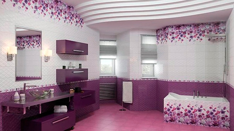 Дизайн ванной фото сиреневого цвета плитка 81