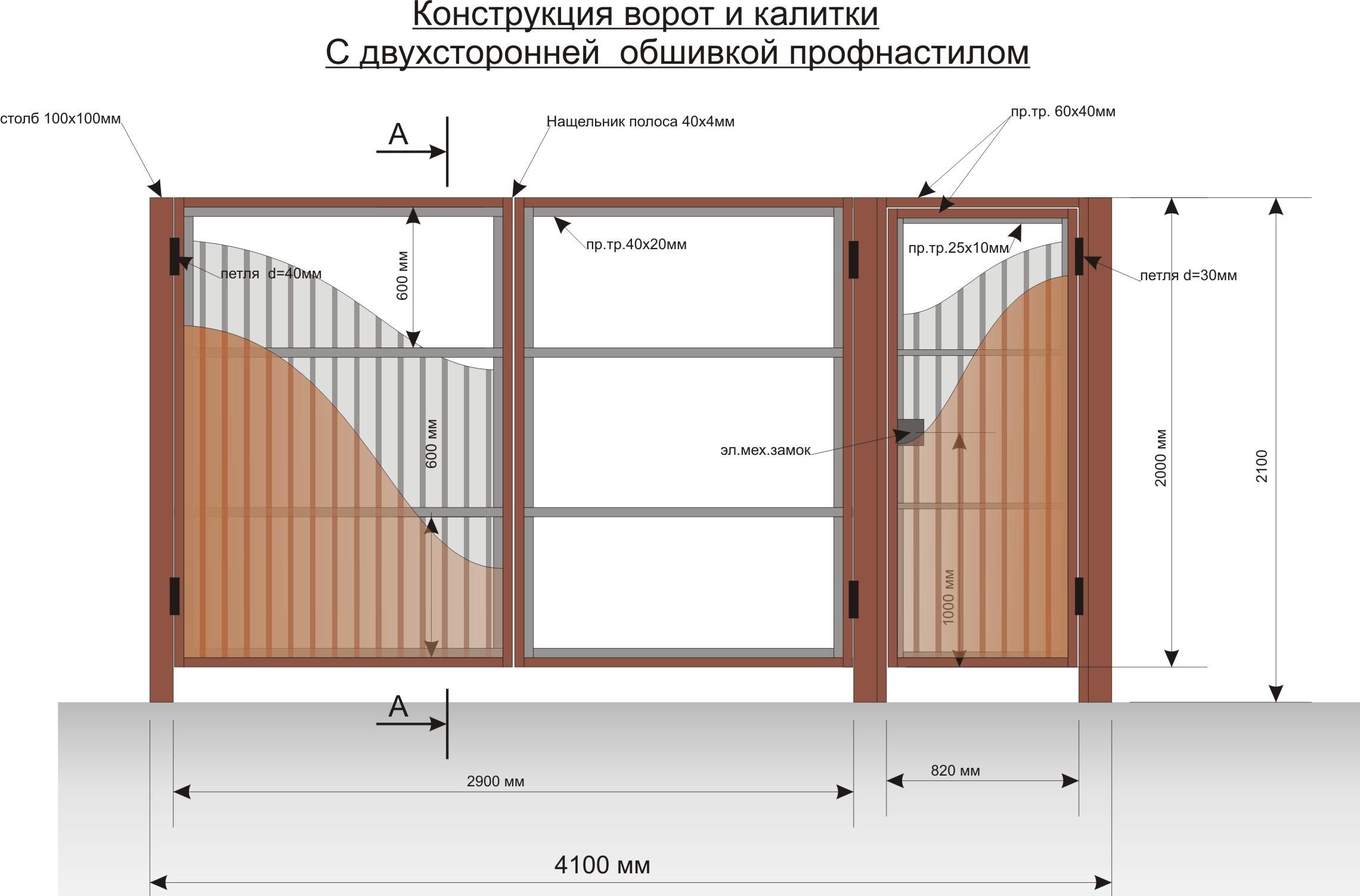 Конструкция распашных ворот своими руками 121