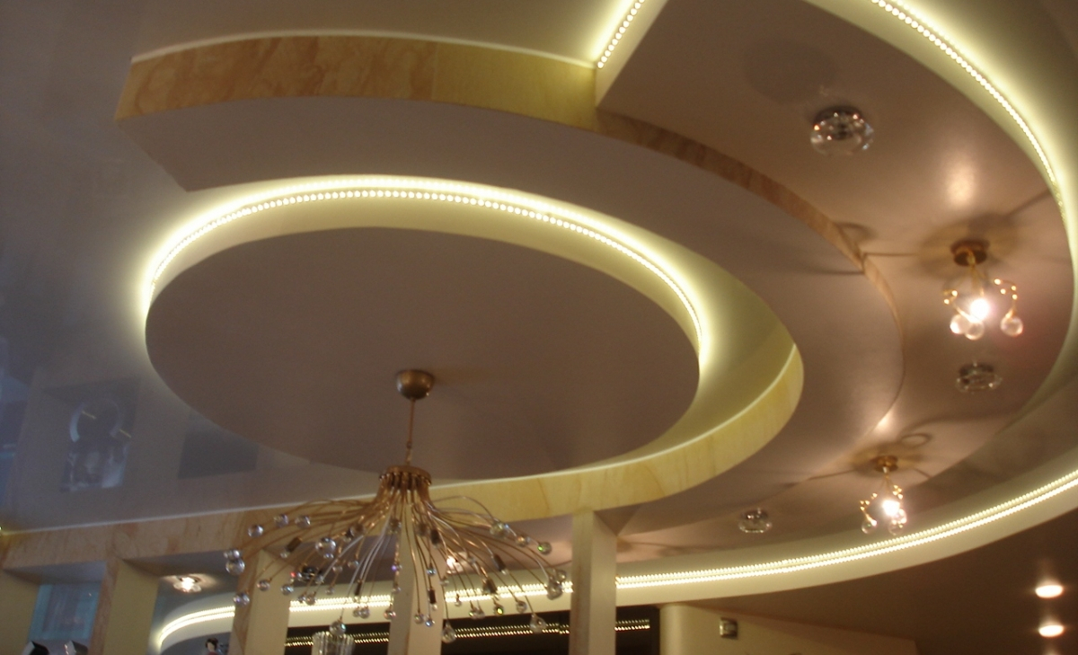 Потолок двухуровневые из гипсокартона своими руками фото