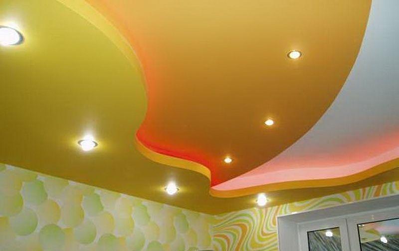Как сделать двухъярусный потолок из гипсокартона фото 700