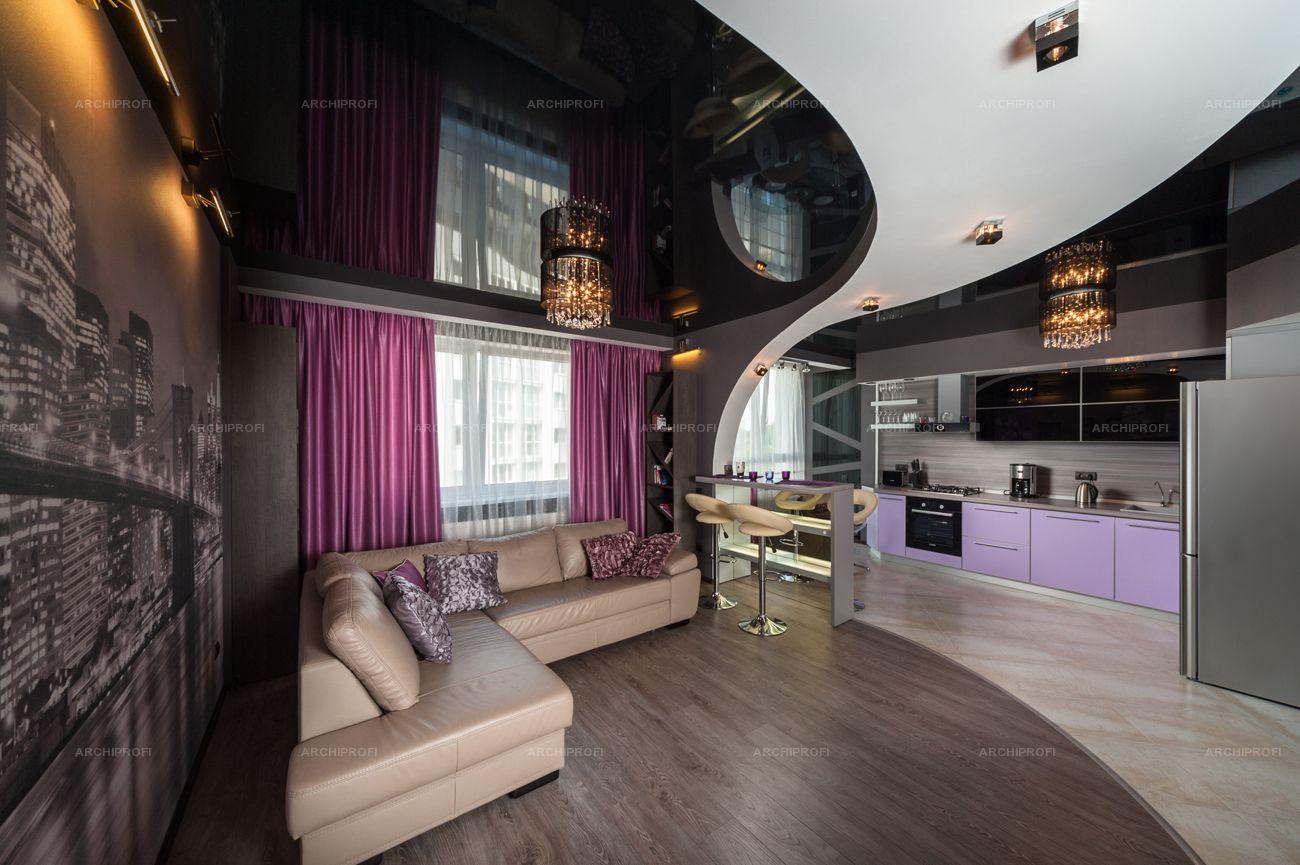 фото комнат с черными натяжными потолками пустом