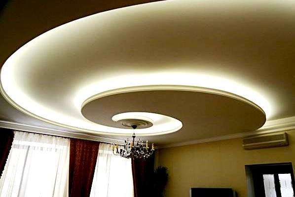 Двухуровневые потолки из гипсокартона с подсветкой своими руками фото 75