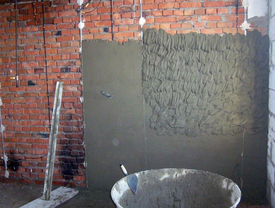 Цементный раствор для штукатурки стен толщина можно ли класть керамогранит на цементный раствор на улице