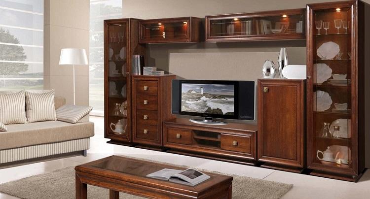 Мебель из натурального дерева для гостинной