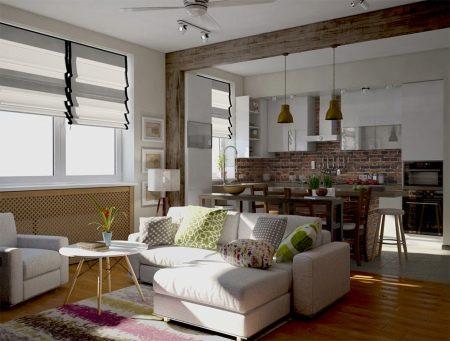 Кухня-гостиная в стиле Лофт (48 фото): дизайн интерьера совмещенного помещения 22