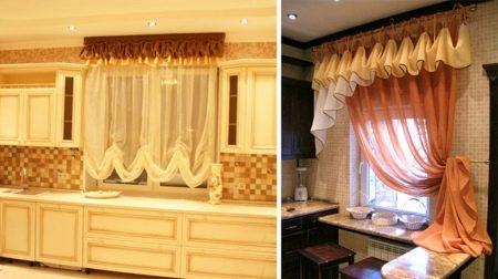 Kort gardiner i køkkenet